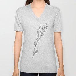 Floral Dagger Illustration Unisex V-Neck