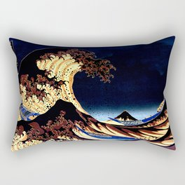 The GREAT Wave Midnight Blue Brown Rectangular Pillow