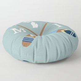 Paddle MI, Michigan Lake Life Painted Oars Floor Pillow