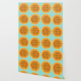 Sun Drawing Gold and Blue Wallpaper
