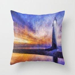 Talacre Lighthouse Throw Pillow