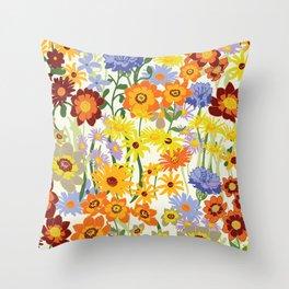 Summer Flower  Meadow on light green background Throw Pillow