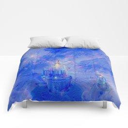 The Teapot Village - Blue Japanese Lighthouse Village Artwork Comforters