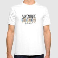 Adventure. MEDIUM White Mens Fitted Tee