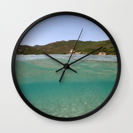 Sardinia underwater - emerald Wall Clock