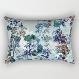Delicate vintage botanical illustration on turquoise background- pattern Rectangular Pillow