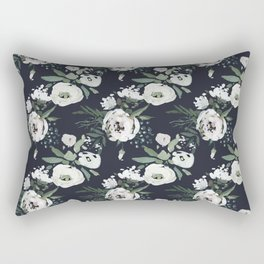 Blush pink white green black watercolor modern floral Rectangular Pillow