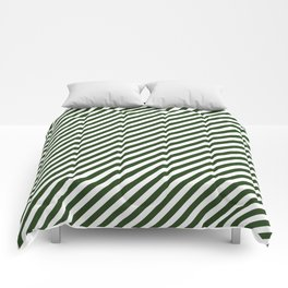 Small Dark Forest Green and White Candy Cane Stripes Comforters