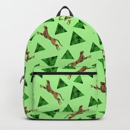 Gorgeous wild jumping cheetahs and green abstract geometric triangle shapes. Stylish classy elegant  Backpack