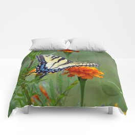 Yellow female Eastern Tiger Swallowtail  Comforters