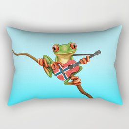 Tree Frog Playing Acoustic Guitar with Flag of Norway Rectangular Pillow