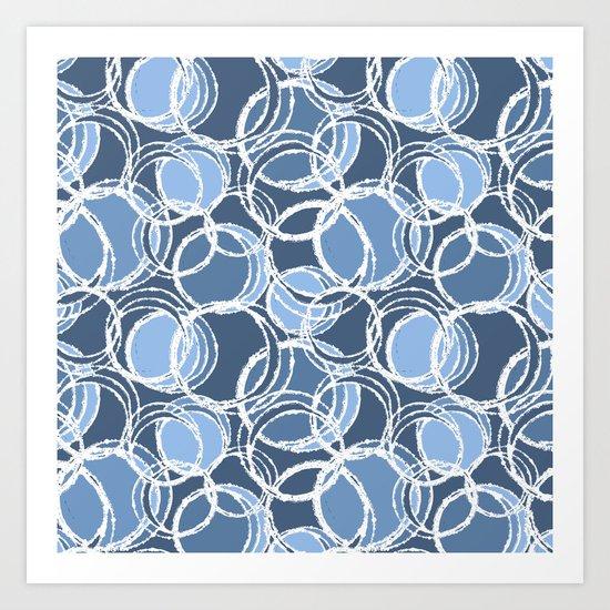 My simple circles in blue Art Print