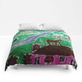Happy Home Farm Ranch Kids Art Abstract Comforters