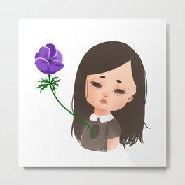 Forsaken - Girl with Anemone Flower Metal Print