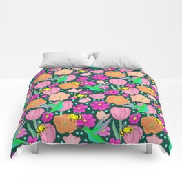 Hummingbirds and Bees Spring Pollinator Floral Comforters
