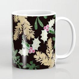 Black Gold Green Glitter Christmas Mistletoe Holly Floral Coffee Mug
