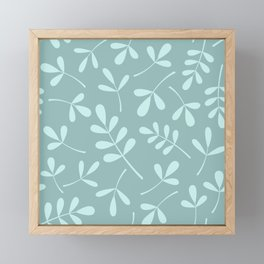 Assorted Leaf Silhouettes Teals Framed Mini Art Print