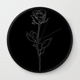 black and white single rose line art Wall Clock