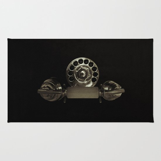 Old rotary dial phone Rug