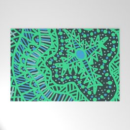 Doodle 16 Blue Welcome Mat