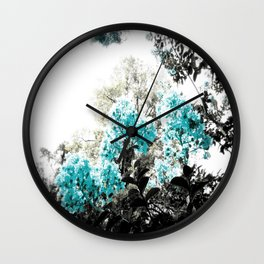 Turquoise & Gray Flowers Wall Clock