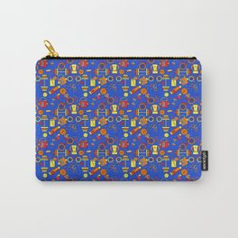 Funky, Fresh Fitness, Blue, Orange Red, Sports and Retro Style Carry-All Pouch