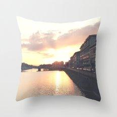 sunset on the Arno Throw Pillow