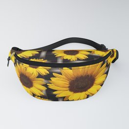 Bright Yellow Sunflower and Industrial Grid Pattern Fanny Pack