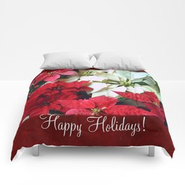 Mixed color Poinsettias 1 Happy Holidays P5F1 Comforters