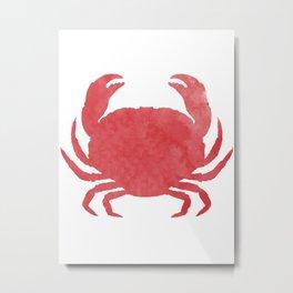 Watercolor Crab Metal Print