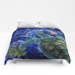 Clean Ocean Sea Turtle Art Comforters
