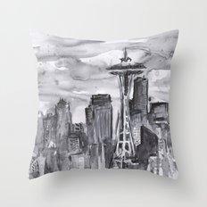 Seattle Skyline Watercolor Space Needle Washington PNW Throw Pillow