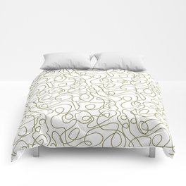 Doodle Line Art   Khaki / Olive Green Lines on White Background Comforters