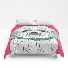 Shih Tzu Art Poster Icon Series by Artist A.Ramos.Designed in Bold Colors Comforters