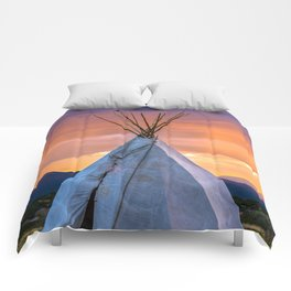 Southwest Teepee Sunset With Bird Comforters