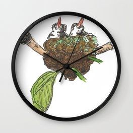 Baby Birds In Their Nest - pen and watercolour painting Wall Clock