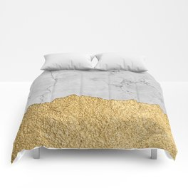 Gold torn & Grey marble Comforters