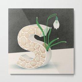 Vase S Snowdrop Metal Print