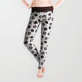 Doodle Button Floral Pattern - Black Red Leggings
