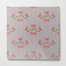 Flower bouquet on a gray striped background. Metal Print