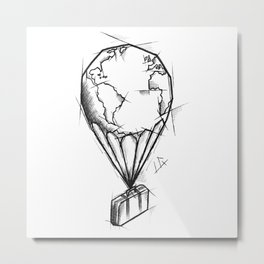 Balloon Handmade Drawing, Made in pencil, charcoal and ink, Tattoo Sketch, Tattoo Flash, Sketch Metal Print