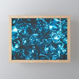Sparkly blue water marbles Framed Mini Art Print