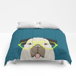 Emerson - Pug with neon Hipster Glasses, Cute Retro Dog, Dog, Husky with Glasses, Funny Dog Comforters