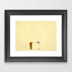 man listening to a cloud Framed Art Print