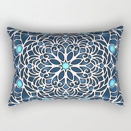 Eight Fold Mandala 6 in Blue Rectangular Pillow