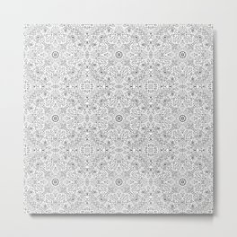 Techy doodle - repeating digital pattern - black and white - computers Metal Print