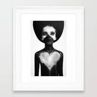 black Framed Art Prints featuring Hold On by Ruben Ireland