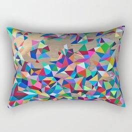 Geometric Rainbow Cluster on Wood Rectangular Pillow