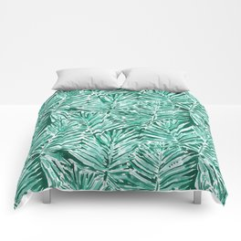 ON VACAY Green Palm Leaves Comforters