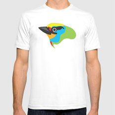 Black-browed Barbet Mens Fitted Tee MEDIUM White